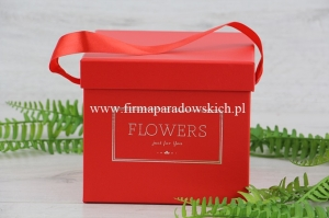 kwadratowy flower box - Flowers just for you 1szt czerwony (ART09990)