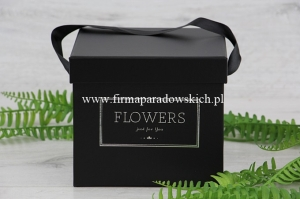 kwadratowy flower box - Flowers just for you 1szt czarny (ART09991)