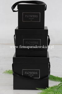 zestaw kwadratowy flower box - Flowers just for you 3szt czarny (ART09987)
