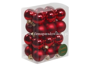bombki choinkowe 24szt 25mm red combi